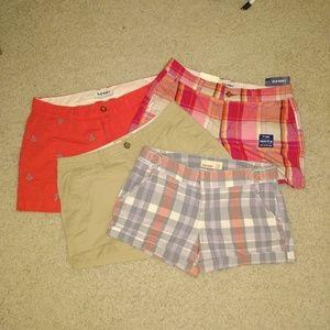 4 Pairs of Old Navy Shorts, Sz 6, Pink Plaid Sz 4.
